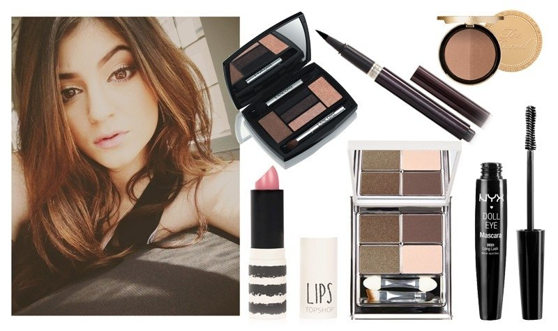 "Kylie Jenner. Šešėliai ""Hypnôse Star Eyes Palette"" (""Lancome""),  blakstienų tušas ""Doll Eye Mascara Long Lash"" (""NYX""), douglas.lt; Akių kontūras ""Laura Mercier"", šešėliai ""New CID Cosmetics"", lūpų dažai ""Top Shop"", polyvore.com; Bronzatas ""Too Faced"", as"